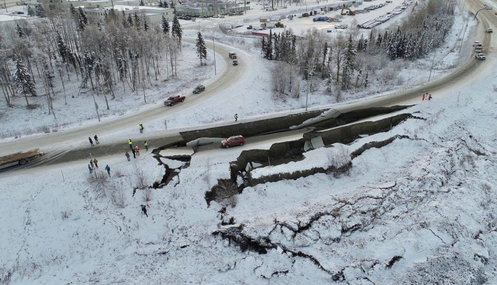 Collapsed Highway in Alaskan Earthquake by Alaska DOT&PF