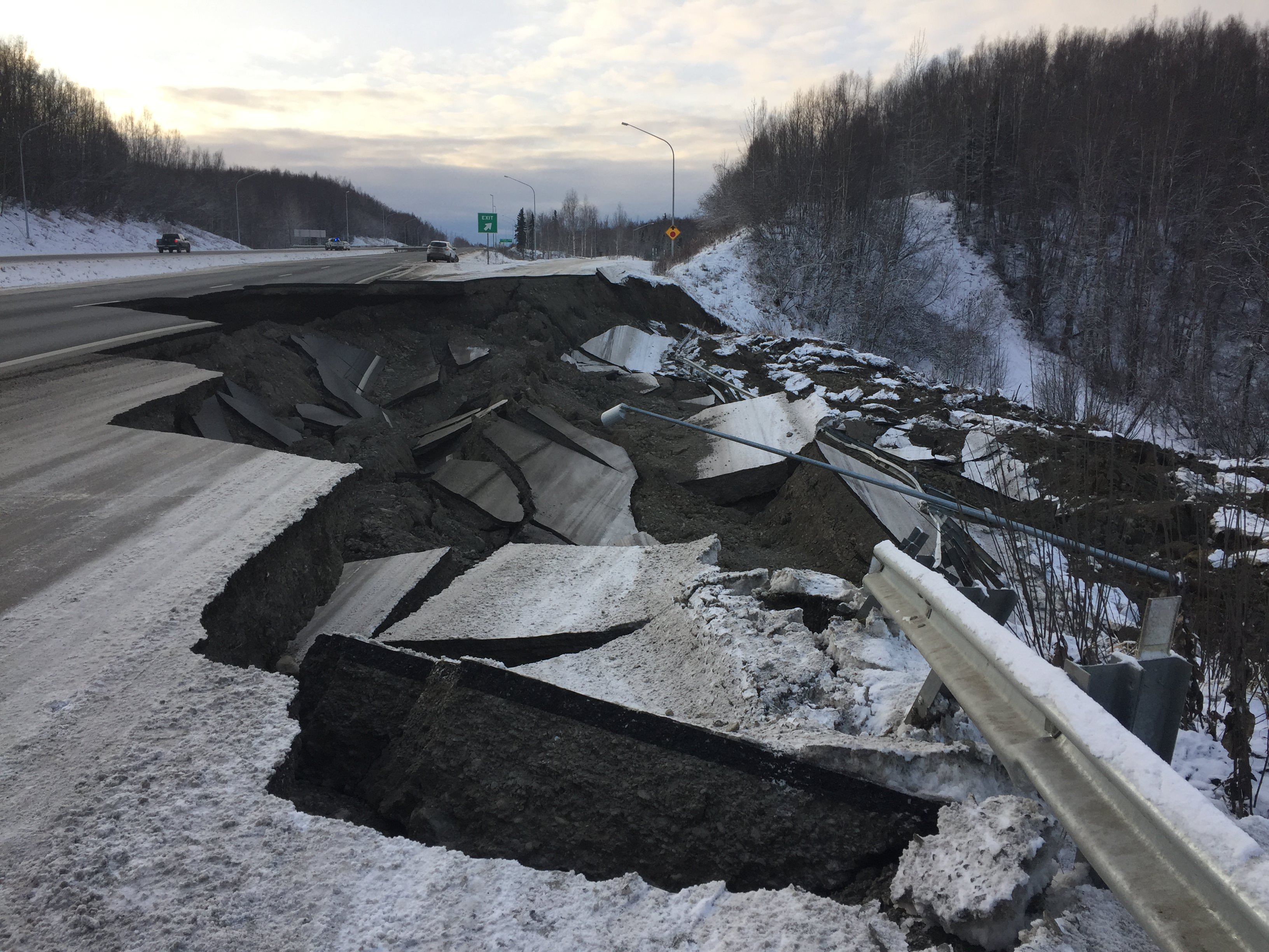 Highway damage in Alaska Earthquake by Alaska DOT&PF